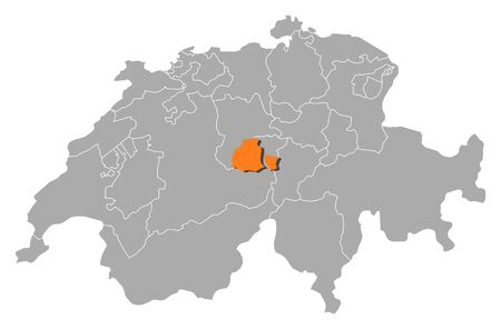 cantons: Political map of Swizerland with the several cantons where Obwalden is highlighted.