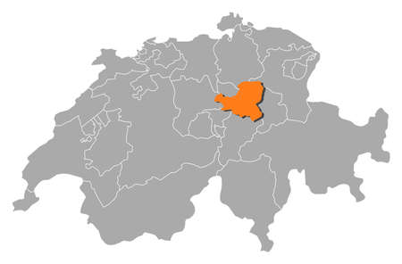 cantons: Political map of Swizerland with the several cantons where Schwyz is highlighted. Illustration