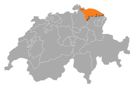 cantons: Political map of Swizerland with the several cantons where Thurgau is highlighted.