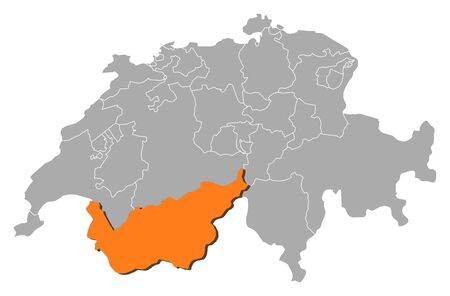 Political map of Swizerland with the several cantons where Valais is highlighted.