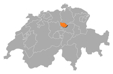 schweiz: Political map of Swizerland with the several cantons where Zug is highlighted. Illustration