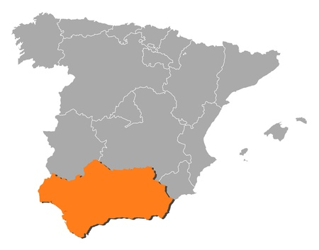 emphasize: Political map of Spain with the several regions where Andalusia is highlighted.