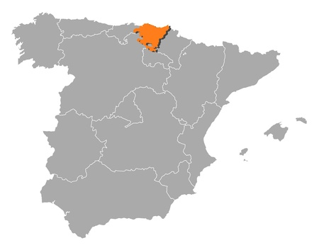 highlighted: Political map of Spain with the several regions where Basque Country is highlighted. Illustration
