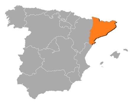 highlighted: Mappa politica della Spagna con le varie regioni in cui si evidenzia Catalogna.