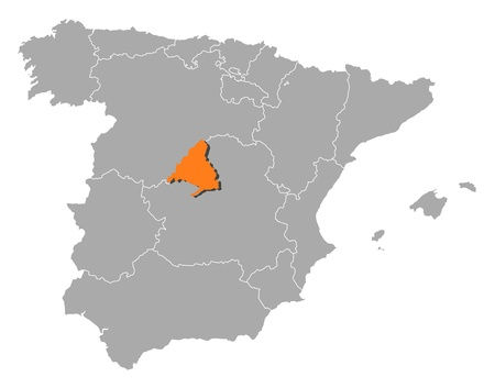 Political map of Spain with the several regions where Madrid is highlighted. Ilustração