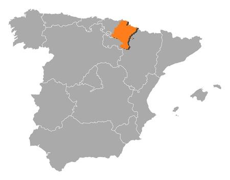 highlighted: Mappa politica della Spagna con le varie regioni in cui � evidenziato Navarra. Vettoriali