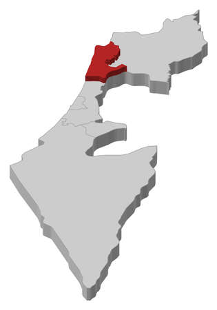 Political map of Israel with the several districts where Haifa  is highlighted. Stock Vector - 11241682