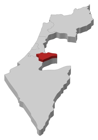 Political map of Israel with the several districts where Jerusalem is highlighted. Vector