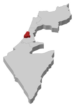 tel: Political map of Israel with the several districts where Tel Aviv is highlighted. Illustration