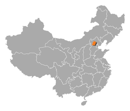 emphasize: Political map of China with the several provinces where Beijing is highlighted.