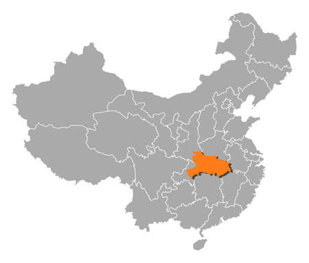 hubei province: Political map of China with the several provinces where Hubei is highlighted.
