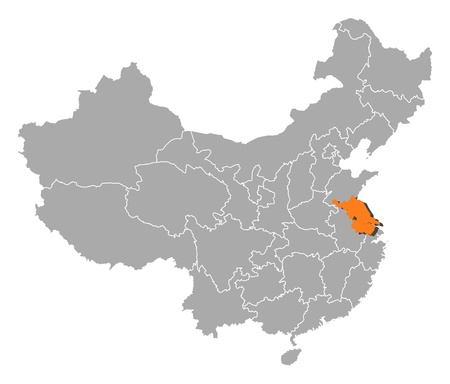 people's republic of china: Political map of China with the several provinces where Jiangsu is highlighted. Illustration