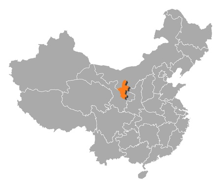 Political map of China with the several provinces where Ningxia is highlighted. Vector