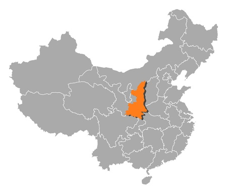 Political map of China with the several provinces where Shaanxi is highlighted.