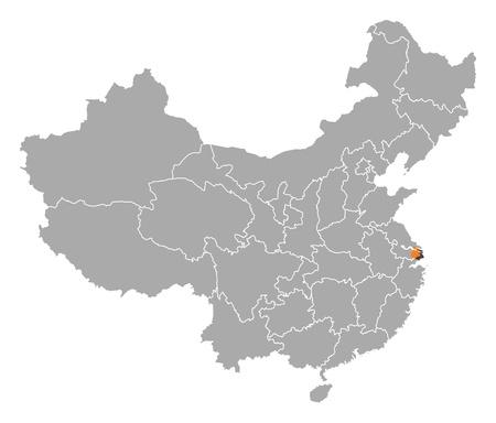 mapa politico: Mapa pol�tico de China, con las distintas provincias, donde se destaca Shanghai. Vectores