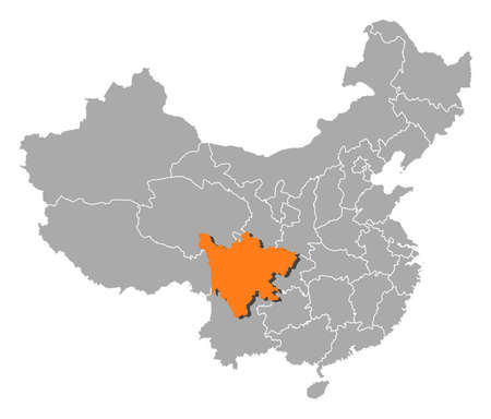 Political map of China with the several provinces where Sichuan is highlighted. Vector