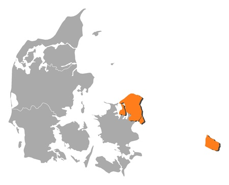 Political map of Danmark with the several regions where Capital Region is highlighted. Illustration