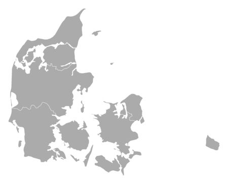 Political map of Danmark with the several regions.