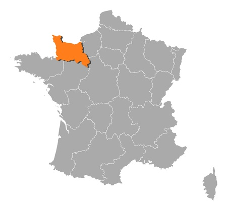normandy: Political map of France with the several regions where Lower Normandy is highlighted. Illustration
