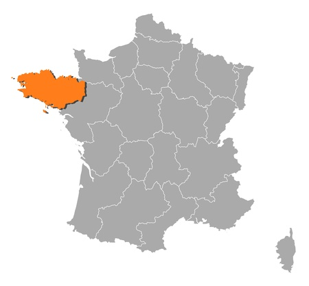 Political map of France with the several regions where Brittany is highlighted. Vector