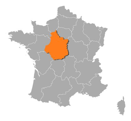 belgie: Political map of France with the several regions where Centre is highlighted. Illustration