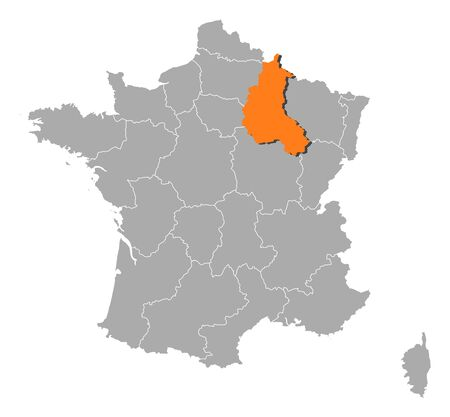 champagne region: Political map of France with the several regions where Champagne-Ardenne is highlighted.