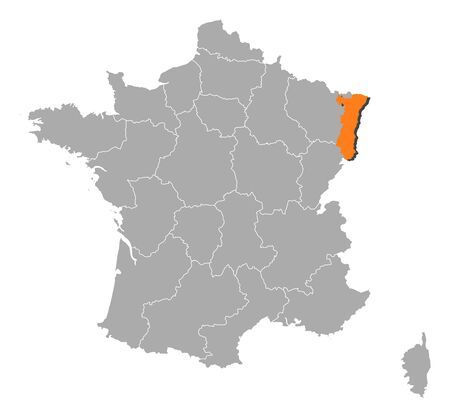 belgie: Political map of France with the several regions where Alsace is highlighted.