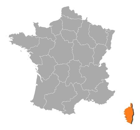 bundesl�nder: Politische Karte von Frankreich mit den verschiedenen Regionen, in denen Korsika wird hervorgehoben.