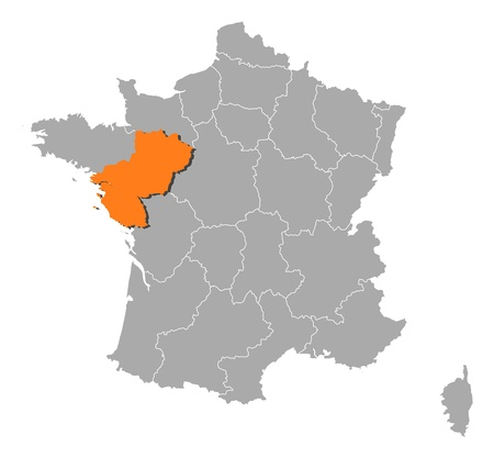 pays: Political map of France with the several regions where Pays de la Loire is highlighted. Illustration