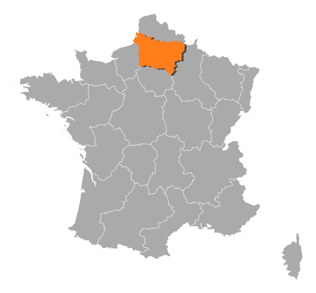 Political map of France with the several regions where Picardy is highlighted. Illustration