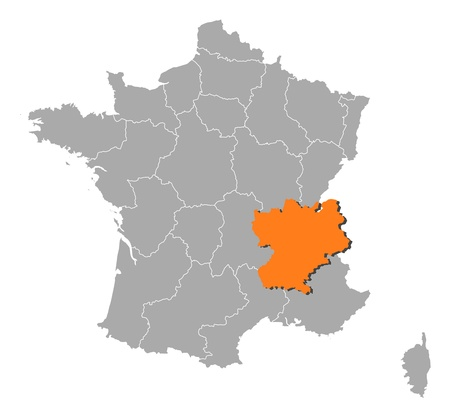 Political map of France with the several regions where Rhone-Alpes is highlighted. Vector