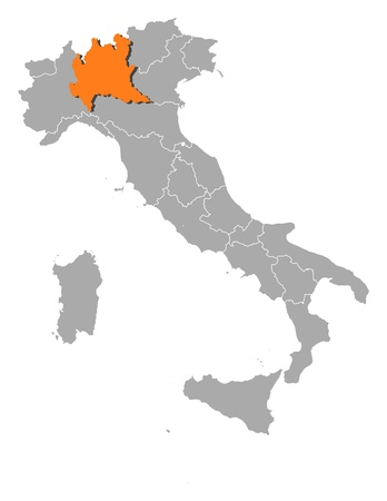 lombardy: Political map of Italy with the several regions where Lombardy is highlighted.