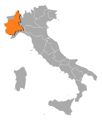 Political map of Italy with the several regions where Piemont is highlighted.
