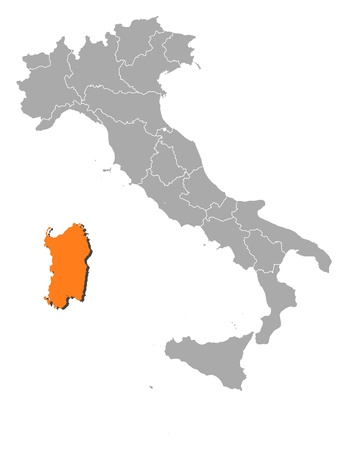 emphasize: Political map of Italy with the several regions where Sardinia is highlighted.