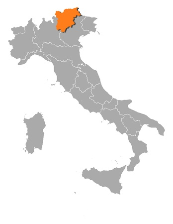 Political map of Italy with the several regions where Trentino-Alto AdigeS�dtirol is highlighted. Illustration
