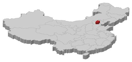 Political map of China with the several provinces where Beijing is highlighted.