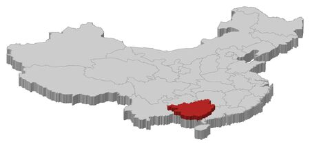 Political map of China with the several provinces where Guangxi is highlighted. Vector