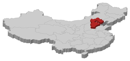 Political map of China with the several provinces where Hebei is highlighted. Vector