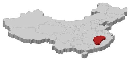 Political map of China with the several provinces where Jiangxi is highlighted. Vector