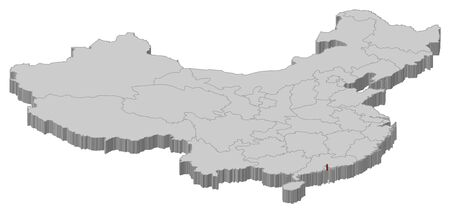 people's republic of china: Political map of China with the several provinces where Macau is highlighted.