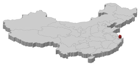 Political map of China with the several provinces where Shanghai is highlighted.