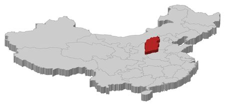 Political map of China with the several provinces where Shanxi is highlighted. Vector