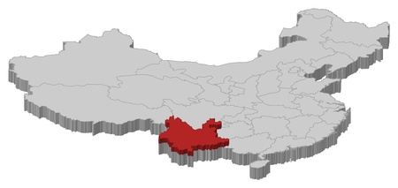 Political map of China with the several provinces where Yunnan is highlighted. Vector