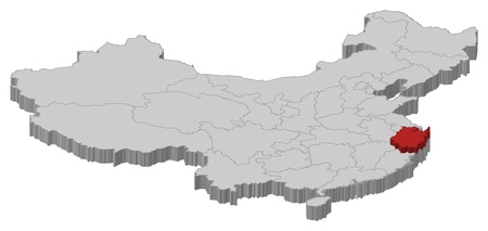 Political map of China with the several provinces where Zhejiang is highlighted. Vector