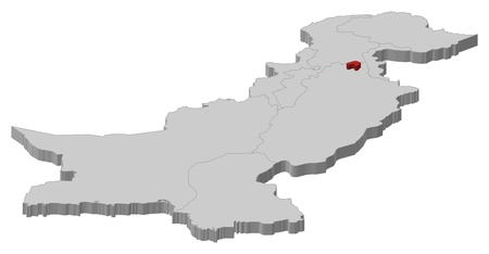 islamabad: Political map of Pakistan with the several provinces where Islamabad is highlighted. Illustration