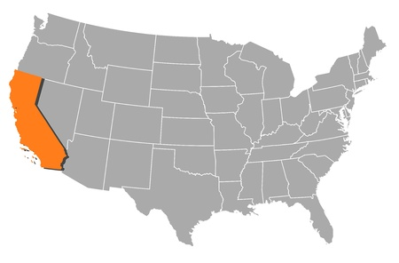 Political map of United States with the several states where California is highlighted. Vector