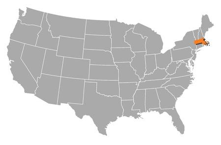 highlighted: Mappa politica degli Stati Uniti con i diversi Stati in cui � evidenziato Massachusetts.