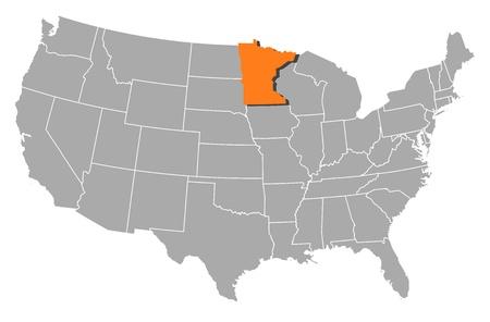 highlighted: Mapa pol�tico de Estados Unidos con los diversos estados de Minnesota, donde se destaca.