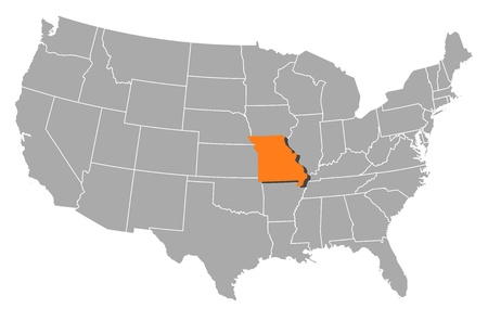 frontier: Political map of United States with the several states where Missouri is highlighted.