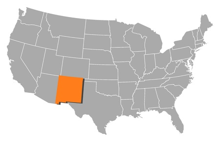 nm: Political map of United States with the several states where New Mexico is highlighted.